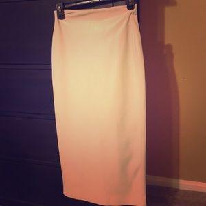 Zara leather look cream pencil skirt