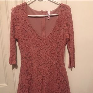 Charlotte Russe pink lace fit and flare dress