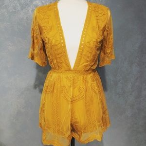 Yellow Short Sleeve Embroidered Deep V Lace Romper