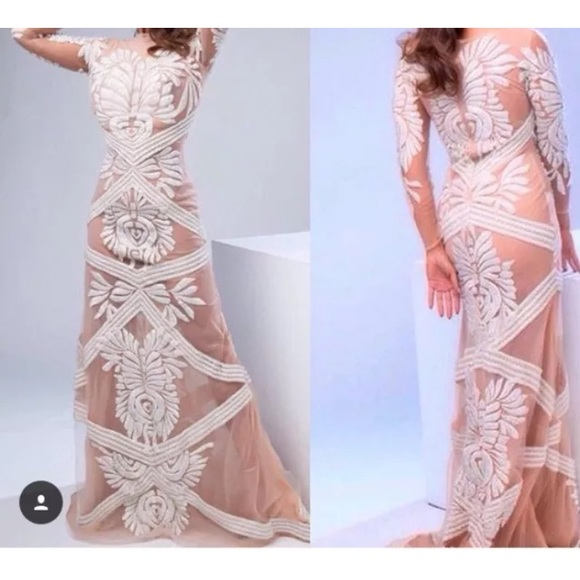 Francis Libiran Dresses | Designer White Beaded Embroidered Long ...