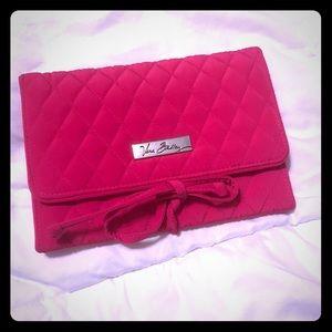 Bright pink Vera Bradley jewelry travel holder