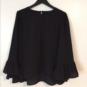Zara Long Bell Sleeve Top in Black, Medium!