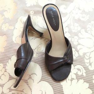 Nine West Leather Brown Slides/Mules Slip-on Heels
