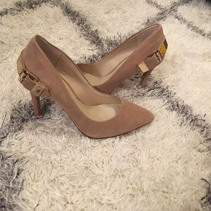 Aldo nude and gold pumps