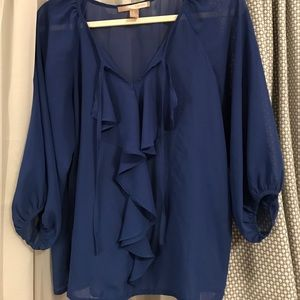 Sheer blouse with ruffle detail