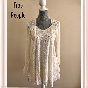 Free People Lace Cream Dress