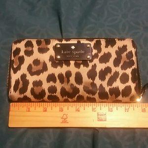 Kate spade leopard zip wallet