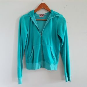 Juicy Couture velour teal track suit jacket sz M