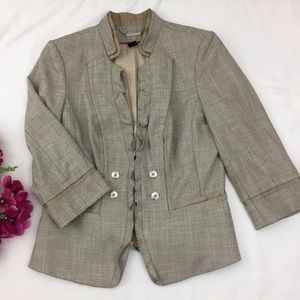 White House Black Market Tan Ruffle Front Blazer