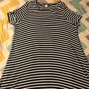 Old Navy black and white striped swing dress