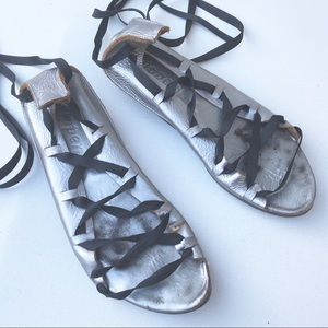 TRIPPEN silver lace up flat Shoes 39 authentic