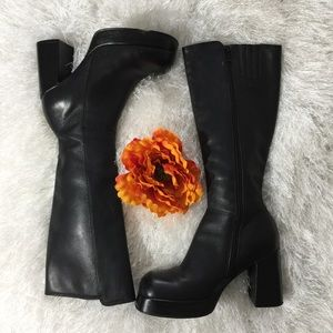 {Steve Madden} Black Chunky Heel Knee High Boots