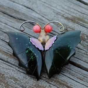 Vintage Green Jade Coral Butterfly Gold Tone Pin