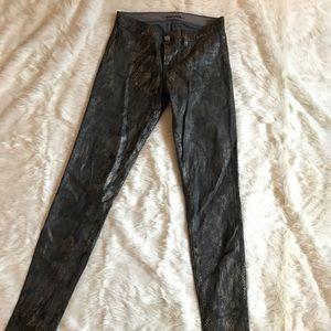 J brand Metallic snakeskin legging  pant Euc sz 25