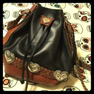 EUC genuine leather cowgirl Western bucket bag