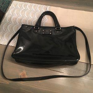 Kate Spade black patent leather crossbody purse