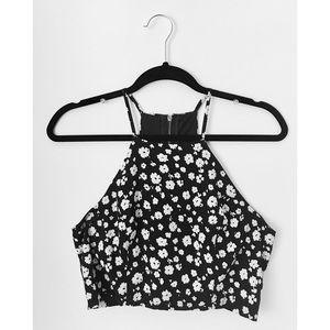 Black/White Floral Crop Top