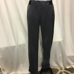 Grey pinstripe trouser with flattering waist band