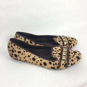 Tory Burch Leopard Print Pony Hair Slipper Flats