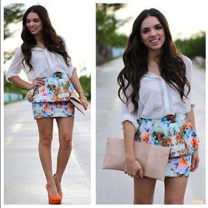 Zara Blue Floral Peplum Skirt