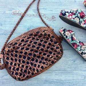 Vintage Basket Weave Crossbody Bag