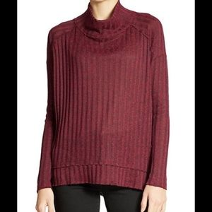 NWT Free People Mock Neck Ribbed Sweater