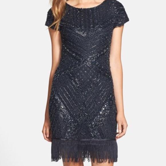 Aidan Mattox Dresses & Skirts | Aidan Mattox Navy Beaded Fringe ...