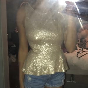 Pale Gold Sequin Peplum top