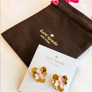 New Kate Spade Pansy Blossom Studs in Gold/Pink!