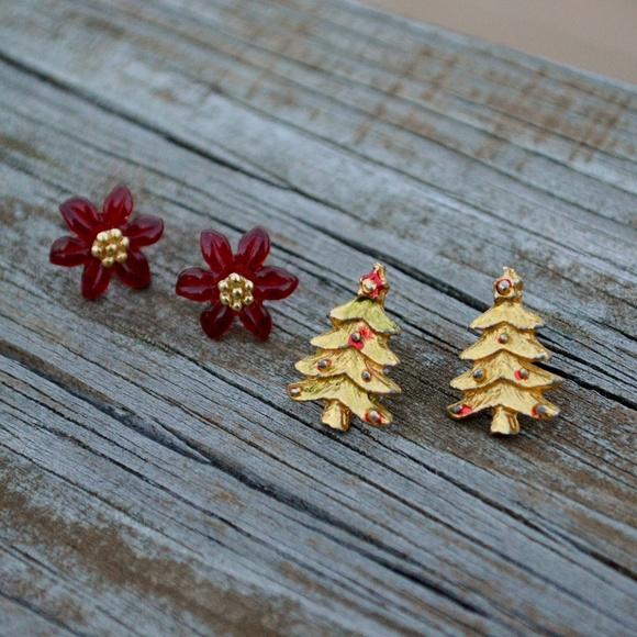17f562359dd Jewelry | Vintage Christmas Stud Earrings Tree Poinsettia | Poshmark
