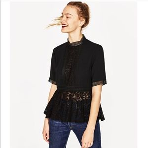 Zara Black Lace Blouse Fall- Winter 17!