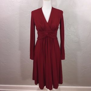 Adrianna Papell deep red front knot dress