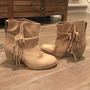 Zara fringe ankle boots in sand beige taupe suede