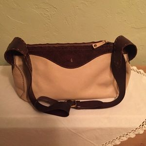 Leather purse, brown and beige