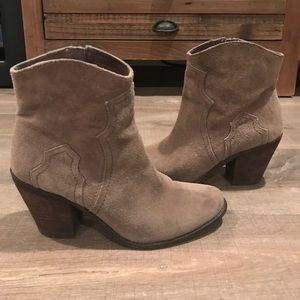 BCBG Generation olive grey suede ankle boots
