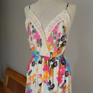 Mahina Maxi Dress Floral Watercolor Print S