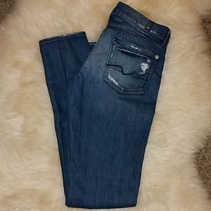 7 For All Mankind Distressed Skinny Jeans Roxanne