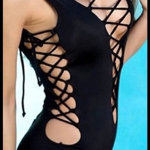 New Black Sexy One Piece Size XL, Fits Like Large