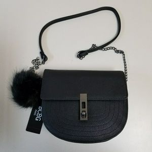 Trendy shoulder bag with fuzzy purse charm