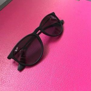 Black matte classic Erika Ray Bans sunglasses