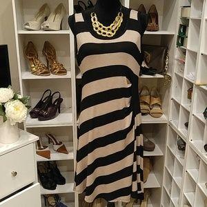 CALVIN KLEIN TAN & BLACK STRIPED RUCHED DRESS 12