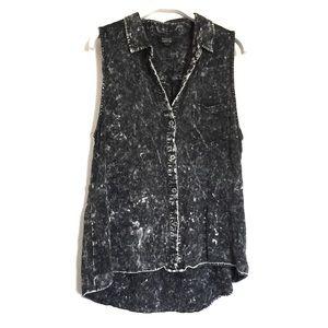 UO Nollie black acid wash sleeveless top Medium