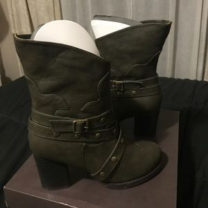 Olive/green heeled boots