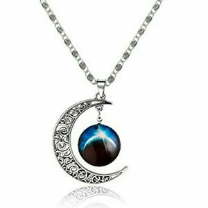 Galaxy Crescent Moon Necklace #2