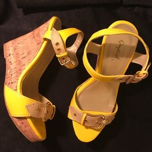 Yellow and Beige Wedge Strappy platforms