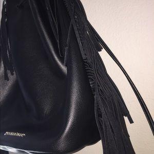 Victoria's Secret Black Fringe Bucket Backpack