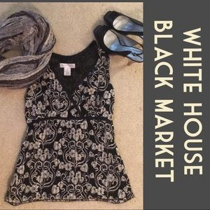 """White House/Black Market"" Black & Cream Top"
