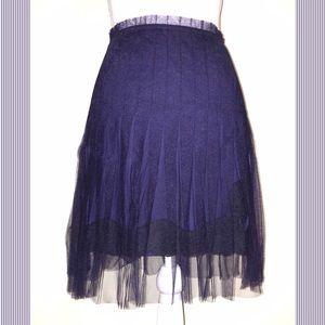 Navy Blue/Black Tulle Overlay Lace Miniskirt