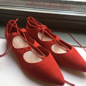 Loeffler Randall Ambra Red Suede Flats Size 8.5
