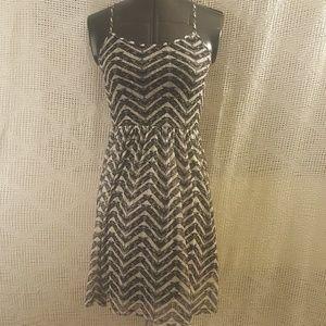 Sexy Black Gray Striped Short Dress Straps